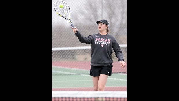 HCHS senior Nicole Lange won in both singles and doubles play vs. Denison.