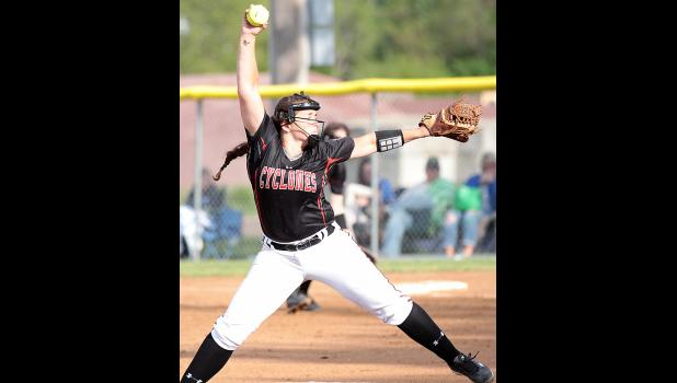 Harlan Community sophomore Morgan Schaben pitched three innings for the game-one win and also had a big day at the plate during the Cyclones' doubleheader sweep at Clarinda on Thursday. (File photo)