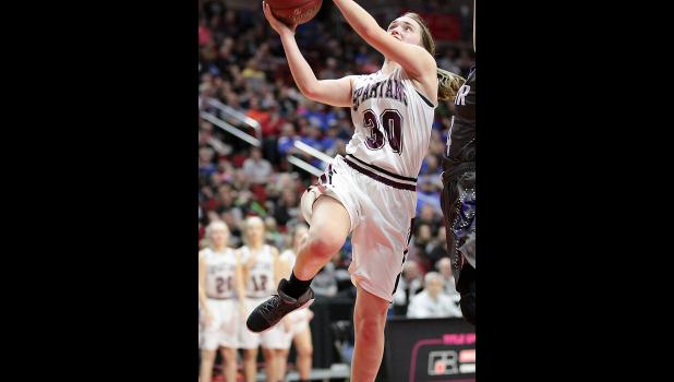 Exira-EHK senior Kealey Nelson scores two of her 18 points in the victory over AGWSR.