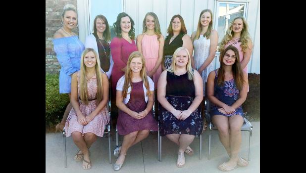 Queen candidates this year are front L to R -- Jessica Buman, Cassidy Robinson, Molly Wingert and Taylor Andersen.  Back L to R -- Bailey Heilesen, Marissa Wingert, Kelsey Schaben, Nicole Goshorn, Emma Barnes, Amelia Juhl and Sara Markham.