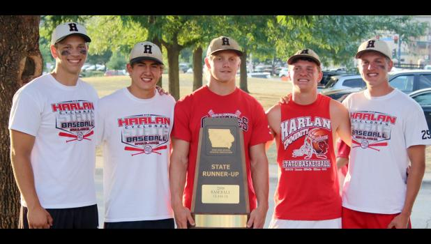 Harlan Community's five senior baseball players pose with the team's state runner-up trophy following Saturday's Class 3A title game loss to Assumption. The Cyclones finished the season 33-4 overall and played in their fourth state championship game in a row. Left-right: Ryan Doran, Jacob Bartley, Nick Foss, Jared Moser, Logan Klaassen.