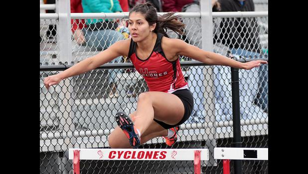 Senior Alyssa Sotelo helped the Cyclones place third in the shuttle hurdle relay.