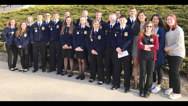 State FFA Convention Attendees, shown above, include L to R -- Mallie Boell, Hannah Tunender, Alana Ploen, Jared Graeve, CJ Schechinger, Jared Moser, Jack Buman, Claire Dresen, Nolan Blum, Reanna Obrecht, Allen Fries, Maggie Koke, Kaleb Kaster, Miguel Mena, Carter Wagner, Andrew Schechinger, Jocelyn Mena, Ania Kaster, Megan Klein and Delaney Musich.