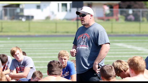 Todd Bladt talks with players during the Cyclone Camp of Champions last fall.