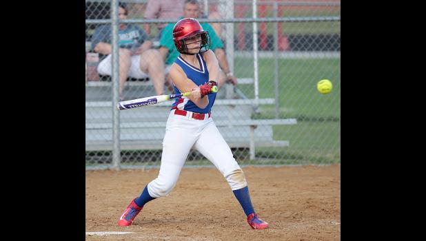 AHSTW freshman Sydney Zimmerman swings for a two-run single during Monday's eight-run sixth inning as the Lady Vikes beat Southwest Valley 13-7.