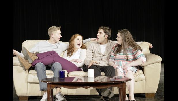 The cast for the play Baggage includes L to R -- Andrew Shelton, Caitlin Bissen, Spencer Dozler and Macy Neese.  The play is student-directed by Katelyn Kluver, assisted by instructor Kayla Weis, and will run this weekend at Harlan Community High School.