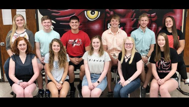 HCHS seniors who are the first to earn the Seal of Biliteracy are back row L to R -- Morgan Bendorf, Tim Mumm, Brady Wagner, Elijah Boldan, Jayden Swanson, and Morgan Schaben.