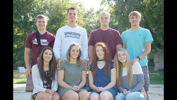 Homecoming king and queen candidates at Exira/EH-K include front L to R -- Bailey Robertson, Sophia Peppers, Grace Greving and Sydnee Young.  Back L to R -- Dalton VanderWal, Cole Madsen, Brady Griffin and Mason Rasmussen.