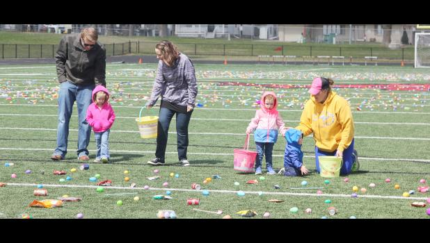 Waiting for the official start of the Easter egg hunt in the 0-3 years of age group were from left: Josh Lesch, Melanie Lesch, Sarah Lesch, Tierney McLaughlin, Sterling McLaughlin and Amy Laughlin.