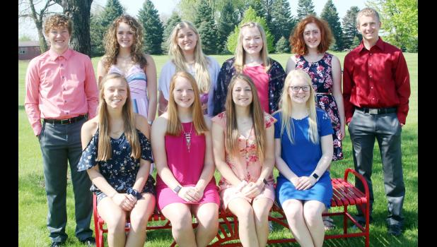 The top 10 students at Harlan Community High School this year ranked by grade point average include front L to R -- Andrea Ferry, Kara Weis, Lindsey Metzger and Greichaly Kaster.  Back L to R -- Kyle Knudson, Anna Ahrenholtz, Morgan Bendorf, Katelyn Kluver, Caitlin Bissen and Jay Swanson.