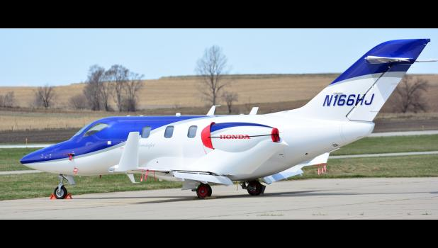 This HondaJet made a hard landing at the Harlan Airport in the spring.  The jet stayed at the airport until officials from Honda could fix it and get it safe to fly.