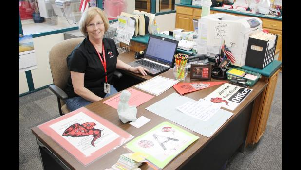 Joan Potter's last day at the intermediate building in the Harlan Community Schools was June 30.  She has spent 38 years in the district.  (Photo by Sarah Muller)