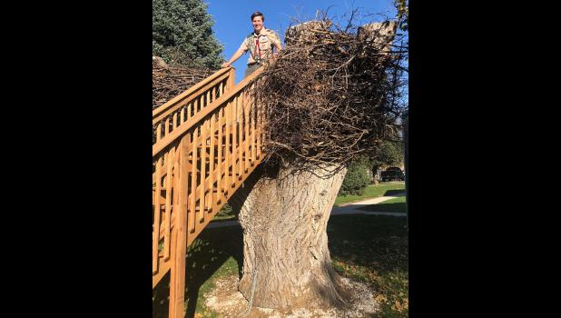 Jack Klitgaard, above, with his finished Eagle Scout project at Nishna Bend Recreation Area.