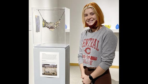 Maggie Langenfeld was chosen to have this necklace showcased at the Senior Art exhibit at Central College recently.