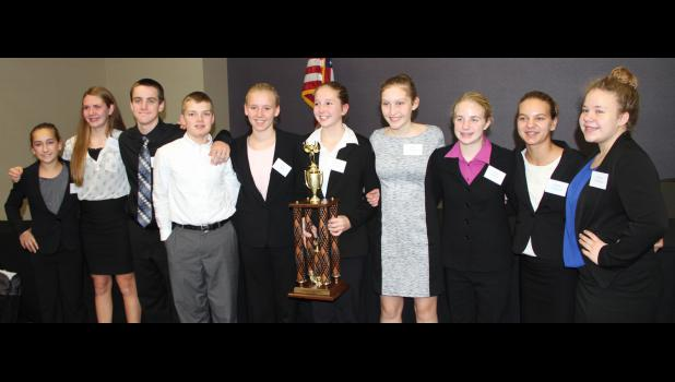 The varsity team, consisting of HCMS 8th graders, was crowned state runners-up.  Team members L to R -- Abby Alberti, Lucy Borkowski, Alex Schechinger, Thomas Frederick, Elise Juhl, Justina Borgman, Dani Arkfeld, Anna Nelson, Rachel Anderson, and Emma Erlbacher.