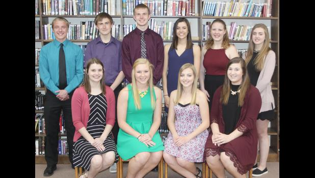 The top 10 students at Harlan Community High School this year ranked by grade point average include front L to R -- Laura Kaufmann, Haley Arkfeld, Lauren Blum and Sydney Peterson.  Back L to R -- Reagan Hansen, Alan Holloway, Isaac Stitz, Ashley Petsche, Rebecca Sparandeo and Michaela Bissen.  (Photo by Mike Oeffner)