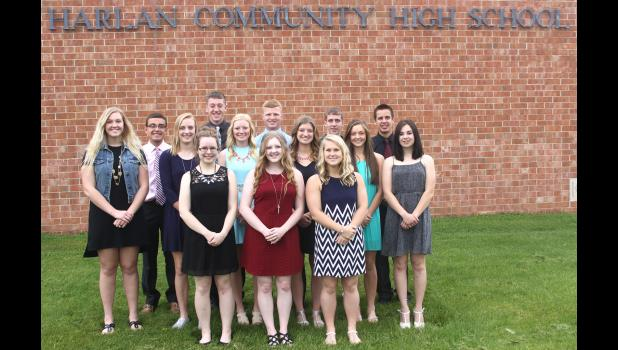 These students finishing in the top 10 percent of the HCHS graduating class include front L to R -- Emily Lefeber, Addie Kaster and Julia Sorfonden.  Second row L to R -- Emma Ahrenholtz, Emily Juhl, Paige Powers, Jessica DuVal, Logan Schaben and Haley Koch.  Back L to R -- Michael Rueschenberg, Ethan Knudson, Logan Peters, Marcus Klein and Levi Kohl.  (Photo by Mike Oeffner)