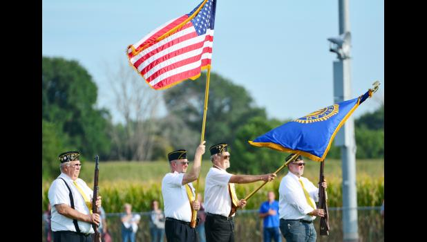 Bringing in the colors were L to R -- Bob Jorgensen, Kenneth Ledvina, Jay Wright and Chad Brockman.