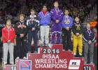 SETTING THE BARR HIGH -- AHSTW senior Tim Barr (fourth from left) placed second at 170 pounds (Class 1-A) in his first-ever trip to the State Wrestling Tournament in Des Moines this past weekend. Barr won three matches at Wells Fargo Arena before losing 8-0 to top-ranked Tanner Sloan of Alburnett in Saturday's championship match. Barr was the Vikings' first state finalist since Heath Lamp earned a state title in 2003. (Photos by Mike Oeffner)