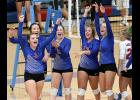 AHSTW players celebrate Tuesday's 3-0 victory over IKM-Manning, the Lady Vikes' first volleyball win in the series since the Wolves joined the Western Iowa Conference in 2013. Left-right: Madison Simonsen (1), Kinsey Scheffler, Katie Anzalone, Kyley Nelsen, Baylee Meyers and Paige Osweiler. (Photos by Mike Oeffner)