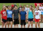 Tuesday's first-place obstacle course team at the Cyclone Cross Country Camp included, left-right: Lucy Borkowski, Lindsey Metzger, Kaiden Milliken, Micah Sorensen, Olivia Anderson and Abby Alberti. (Photos by Mike Oeffner)
