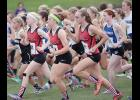 HCHS runners (left-right) Greichaly Kaster, Savannah Parman and Kara Rueschenberg start Saturday's Cyclone Invitational girls varsity race. The trio paced the team to a sixth-place finish overall.