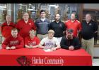 NICK FOSS SIGNS WITH MINNESOTA STATE Front row: Harlan Community senior Nick Foss (second from right) is seated next to his parents, Ernie and Stacie Foss, and older brother Joey Foss. Back row, L-R: HCHS football coaches John Murtaugh, Curt Bladt (head coach), Matt Hoch, Sam Brummer, Todd Bladt and Mark Kohorst.