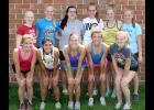 Harlan Community Girls' State Track Qualifiers & Alternates --- Front row, L-R: Chloe Hansen, Alyssa Sotelo, Allison Bruck, Sidney Craig, Emily Gross. Back row, L-R: Griechaly Kaster, Elise Juhl, Gillian Streit, Nicole Goshorn, Lexi Larsen, Molly Gubbels.