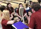 Members of the Harlan Community girls bowling team listen to head coach David Tyrrel prior to Monday's Class 1A State Tournament. HCHS placed sixth out of eight team qualifiers, finishing just four pins out of the top four. (Photos contributed)
