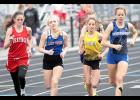 AHSTW senior Heidi Hall (second from left) starts the 3,000-meter run alongside Treynor's Tori Castle, Tri-Center's Peyton Pogge and Underwood's Karley Larson during the WIC Meet. Hall placed fourth in the 3,000 and second in the 1,500, which were both won by Pogge.