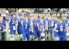 AHSTW Viking players celebrate their 39-12 state semifinal victory over Edgewood-Colesburg November 9 at the UNI-Dome. (Photos by Mike Oeffner)