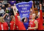 HCHS players in the postgame celebration following last week's regional final win at Denison include, right-left: Shelby Sisson, Jocelyn Cheek, Macie Leinen, Jordan Heese and Maci Schmitz. (Photos by Mike Oeffner)