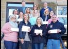 1st row: Amanda Brewer, Harlan Comm. Library; Alissa LaCanne, Elk Horn Fire Dept. and Elk Horn Public Library; Dena Matthews, West Central Comm. Action; Tim Plumb, Irwin Fire and Rescue Assoc.; 2nd row: Bre Fuhs, Country Care Center Corp.; Megan Defenbaugh & Bridgette Laver, Concerned, Inc.; 3rd row: Karen Schlueter, Shelby Fire & Rescue; SCCF Board members Kathi Kilworth (Vice Chair) & Rhonda Powers (Sec./Treasurer); 4th row: SCCF Board members Michael Riley, Kristy Hansen, CPA, & Jim Zimmerman (Chair)