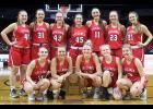 The Harlan Community girls basketball team competed in its first state tournament since 2016 on Tuesday, losing to Ballard in the quarterfinals 38-27. Front row, L-R: Ashley Hall, Jocelyn Cheek, Macie Leinen, Brecken Van Baale, Shelby Sisson. Back row, L-R: Brynn Klaassen, Caitlyn Leinen, Jordan Heese, Julia Schechinger, Claire Schmitz, Raegen Wicks, Maci Schmitz.