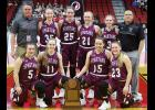 The Exira-EHK girls basketball team finished its season at state for the fifth time in seven years Friday, including its fourth trip to the semifinal round during that time. Front row, L-R: Hailie Snider, Quinn Grubbs, Tatum Grubbs, Shay Burmeister. Back row, L-R: Assistant Coach Cory Bartz, Hannah Nelson, Macy Emgarten, Mollie Rasmussen, Alisa Partridge, Head Coach Tom Petersen.