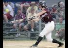 Spartan center fielder Rachel Walker connects for a double on Monday night.
