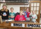 Some of the volunteers on the final Bingo Night in Earling December 18 were co-coordinator Jan Mahlberg with helpers L to R -- Ava Langenfeld, Ava Freund, Suzy Kenkel and Sophia Freund.