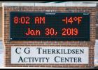 At 8 a.m. Wednesday, Jan. 30, the temperature in Harlan on the CG Therkildsen Activity Center sign was -14.