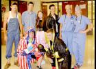 Pictured front, from left: Joey Fields and Spencer Boardman (Apollo and Rocky). Back: Kyle Travis and Matt Devine (Earl Dibbles Jr. and Granger Smith), Jordan Petersen and Wren Koch (Sandy and Danny from Grease) and Ashley Petsche and Haley Arkeld (Dr. Cristina Yang and Dr. Meredith Grey from Grey's Anatomy). (Photo by Kim Wegener)