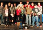 Members of the grand champion and runner-up teams are L to R -- Jason Weis (STEM Coach), Emma Krehbiel, Nick Foss, Ethan Jorgensen, Jonathan Cheek, Cierra Hoegh, Christabel Deas, Will Hoffmann, Hudson Mass, Dave Hoffmann, Jared Graeve, Kevin Campbell, Jeremy Flies, Taymon Klinkefus.  (Photo contributed)