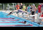Noah Culp takes off from the block during a recent swim meet.  (Photo by Sarah Muller)